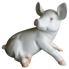 """17"""" Italian Porcelain Pink Eyed Pig~ Darling and He is BIG!"""