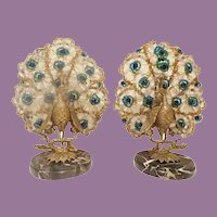 """Czechoslovakian Peacock Lamps  """"A Fabulous Pair """" ~ Grandest Colorful Left and Right Matching Peacocks ~ MAGNIFICENT Marble Plinths"""