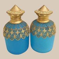 "PAIR 4"" Palais Royal Blue Opaline Perfumes.~ Marvelous Blue Opaline Draped in Very Fine Gilt Ormolu Lace ~ Original Glass Stoppers."