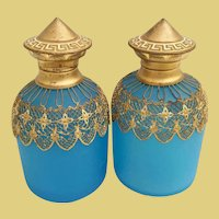 "PAIR 4"" Palais Royal Blue Opaline Perfumes.~ Marvelous Blue Opaline Draped in Very Fine Gilt Ormolu Lace ~ Original Glass Stoppers."