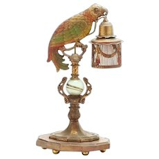 Antique Cold Painted Cast Metal Parrot Lamp with a Cage Shade.~ Giant Green Onyx Ball ~  Wood Plinth