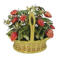 1978 Jane Hutcheson Jeweled Strawberry Basket ~ Original Gold Foil label