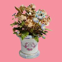 STAMPED 1978 Jane Hutcheson Enamel Jeweled Flowers in Beautiful Porcelain Vase~ Embossed on the Base: Designed by Jane Hutcheson for the Gorham Company