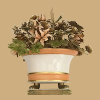 """9 ½"""" Jane Hutcheson Fleurs des Siècles Enameled Floral Arrangement ~ Fabulous Porcelain Bowl wFooted Base"""