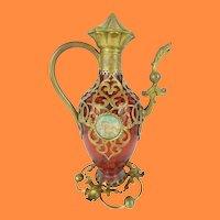 """Magnificent Palais Royal Cranberry Perfume Scent """"Figural"""" Bottles w Two Miniature Plaques"""