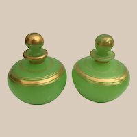 19C Green Opaline Perfume Casket Hinged Box ~  Two BIG Divine Perfume Bottles