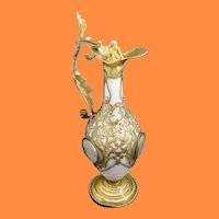 """GIANT Palais Royal White Opaline Ewer with Four Miniatures ~  Dripping in Gilt Ormolu Lace  ~   """"Putti"""" Crystal Stopper"""