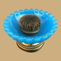 Antique French Pen Brush Nib Cleaner~ Wonderful BLUE Opaline