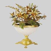 Jane Hutcheson Jeweled Enamel Flowers in White Opaline Paw Foot Vase