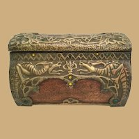 Giant Wood Jeweled Casket Hinged Box  ~ Stunning  Brass Overlay with Dragons