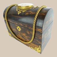 Antique Coromandel Wood Dome Top Letter Box ~ Putti Porcelain Plaque