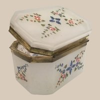Antique Opaline Hinged Box Casket with Lovely Flowers and Leaves ~Terrific Size and Shape
