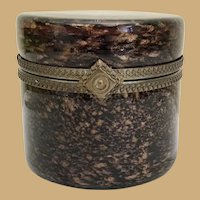 Vintage Murano Round Brown Bronze Hinged Box ~ Ornate Gilt Mounts and Large Lift Clasp