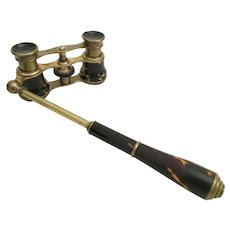 Antique Tortoise Opera Glasses wiTelescoping Handle .