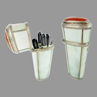 Antique Mother of Pearl Carnelian Silver Etui ~ Silver and Ebony Pieces ~ TESTED: 800