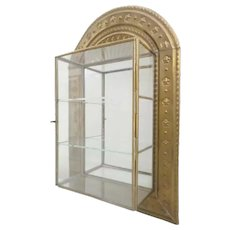 Charming Brass and Glass Wall Miniature Curio Display Cabinet ~ The Perfect Place for a Wonderful Collection of Tiny Treasures