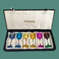 Vintage Venezia Box with 6 Colorful Glasses ~  OLD and SO Charming ~ Glorious Colors ~ Never been Used