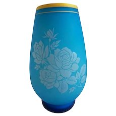 Antique French Blue Opaline Vase  ~ Beautiful Blue Opaline Cased and White Opaline w Prettiest Roses ~ Stunning Shape and Coloration.