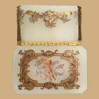 """Antique Opaline Putti Hinged Box  ~  Rectangular Shaped Box with ½"""" Clipped Corner ~  Fancy Mounts and Lift Clasp"""