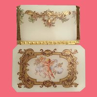 "Antique Opaline Putti Hinged Box  ~  Rectangular Shaped Box with ½"" Clipped Corner ~  Fancy Mounts and Lift Clasp"