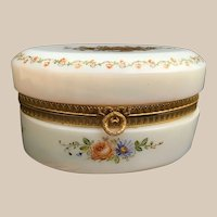 "Antique 6"" French Bulle de Savon Opaline Oval Casket Hinged Box ~ Charming Hand Enameled Flower Garland and Exquisite Gold Flowers"