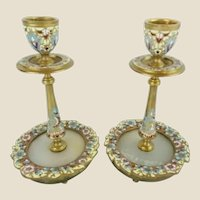 Antique French Champlevé Candle Holders ~ Sky Blue, Cobalt, Burgundy, and Sunshine Yellow…Flowers Circle the Onyx Insert