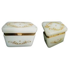 Elegant Antique French Creamy White Opaline Casket Hinged Box  ~ Luscious  Creamy White Opaline and Ornate Mounts w AWESOME Gilding Lift Clasp.