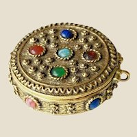Vintage Jeweled Compact wSolid Perfume ~  Charming Compact was worn as a Pendant ~ Jewels cover the top and Circle the Compact.