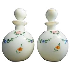 PAIR CZECH SCENT BOTTLES ~Lovely hand painted  White Glass Scent Bottles  wOriginal Stoppers.