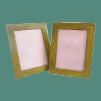 Pair of Miniature Hammered Brass Table Top Easel Back Picture Frame