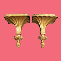 Exquisite Pair Estate Gilt Finish Wall Brackets  ~ Ornate PAIR Gilt Plaster Brackets to Display Two Very Special Treasures.
