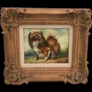 Vintage Sassy Pekingese Dog Oil Painting on Canvas  ~ Ornate Frame