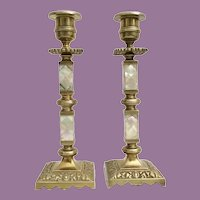 "Antique 9 ½"" Mother of Pearl Candlesticks  ~ Lovely Luscious Mother of Pearl and Gleaming Gilt Bronze"