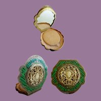 Antique Italian Silver Green Enamel Compact w Amazing Putti Plaque ~ Fabulous Engraving