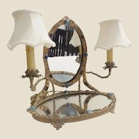Antique Austrian Jeweled Vanity Mirror w Twin Lamps~ Mirrored and BIG GEMS! Jeweled Twin Arms ~AUSTRIAN MASTERPIECE