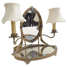 LAYAWAY Antique Austrian Jeweled Vanity Mirror w Twin Lamps~ Mirrored and BIG GEMS! Jeweled Twin Arms ~AUSTRIAN MASTERPIECE