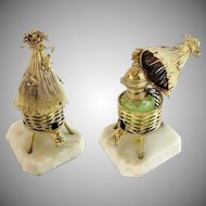 "Palais Royal Opaline Scent Caddy w Opaline Scent Bottle ""THATCH HUT & BEES"""