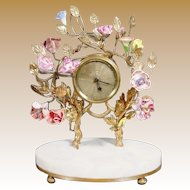 """Antique French Clock w Porcelain Flowers Resting on an Alabaster Plinth """"SO SWEET& CHARMING"""""""