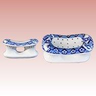 """Japanese Blue &  White Porcelain Pillow """"STUNNING SHAPE & SHAPE"""""""