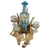 "Magnificent 19C  Antler Horn Liquor Set ""FABULOUS Blue Glass"""