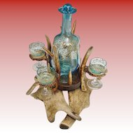 "Magnificent 19C  Antler Horn Liquor Set ""FABULOUS Blue Glass"""