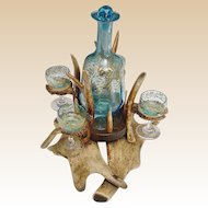 Magnificent 19C Antler Horn Liquor Set  ~ FABULOUS Blue Glass