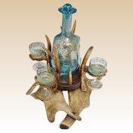 "Magnificent 19C  Moser Antler Horn Liquor Set ""FABULOUS Blue Glass"""