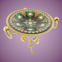"""Antique French Sevres Jeweled Enamel Bronze Trinket Ring Stand """"BEAUTIFUL BRONZE STAND"""""""