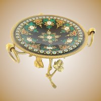 "Antique French Sevres Jeweled Enamel Bronze Trinket Ring Stand ""BEAUTIFUL BRONZE STAND"""