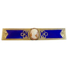 LAYAWAY Antique French Engraved Gilt Metal Enamel Cameo Faux Tortoise (Casein) Comb