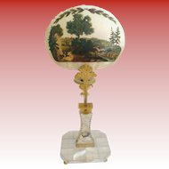 """1850 Mother of Pearl Bronze Hand-painted Candle Screen """"Stunning Hunting Scene …Hunters, Horses & Dogs"""""""