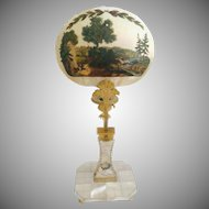 "1850 Mother of Pearl Bronze Hand-painted Candle Screen ""Stunning Hunting Scene …Hunters, Horses & Dogs"""