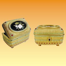 Antique Jeweled Bronze Pietra Dura Casket Hinged Box ~ Very Fine Oval Petra Dura Plaque Circled in Turquoise Gems ~  Casket is Jeweled in Faux Garnets and Turquoise Gems