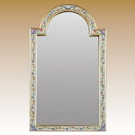"""BEAUTIFUL 15"""" Antique French Champlevé Bronze Table Top Mirror ~ Charming Shape and Divine Colors ~ Original Beveled Mirror"""